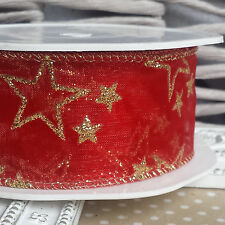 38mm Wired Glitter Star Sheer Christmas Ribbon. Organza Cake Decoration Bow Tree