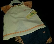 ��SO CUTE ROXY BABY GIRL'S 2 PIECE SUMMER SET. DENIM/PEACH/CREAM. 4T��