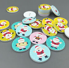 DIY 25X Christmas Round Buttons Santa Claus pattern Fit Sewing Scrapbooking 25mm