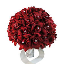 "11.5"" - 3 Dozens of Apple Red roses-Classic Elegant wedding bouquet-bling handle"