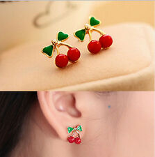 Cherry Red Crystal Studs Earrings Carded  gold butterfly retro vintage trendy UK