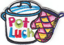"""POT LUCK""- Iron On Embroidered Applique Patch- Cooking, Food, Baking, Stove"