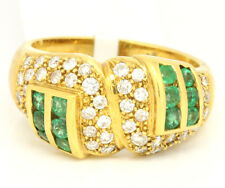 Vintage 18k Yellow Gold 1.25tcw Emerald W/ Diamonds Abstract Pave Ring Size 6.5