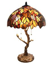 """River of Goods 24.5""""  Stained Glass Marvel Maple Table Lamp with Tree Trunk Base"""