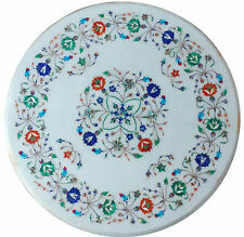"""24"""" White Marble Side Coffee Table Top Multi Gem Inlay Marquetry Malachite H2026"""
