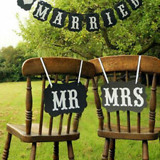 2pcs Mr and Mrs Photo Booth Props,  Chair Signs Wedding Reception Decor SG