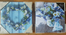 NEW SET 2 BLUE LAVENDER DAISY LOVE HEART FLOWER FLORAL CANVAS WALL ART PICTURE