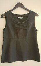 Ladies COUNTRY ROAD Black Sleeveless SILK Top Size S VGC
