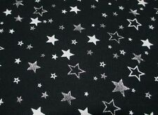 2 YARDS STRETCH THERMAL COTTON FABRIC WITH SILVER FOIL STARS PRINT