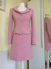 Hobbs Rose Pink Dress Suit Uk 10 Virgin Wool