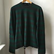 Very Cool Marc Jacobs 100% cashmere dark gray green stripes jumper Italy Sz M