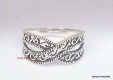 925 Sterling Silver Crisscross Filigree Design Fashion Ring Band Size 9