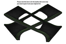 GREEN STITCH 2X B PILLAR LEATHER SKIN COVERS FITS BMW E46 SALOON 1998-2005