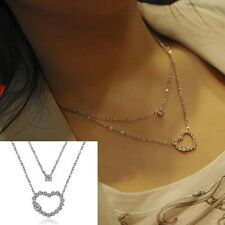 Women Girl Fashion Crystal Rhinestone Love Heart Pendant Chain Necklace New Hot