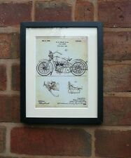 USA Patent Drawing HARLEY DAVIDSON MOTORBIKE CYCLE SUPPORT MOUNTED PRINT 1928