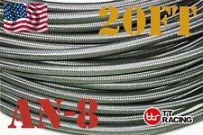 -8an AN8 Stainless Steel Braided hoses Fuel Oil Line Hose track car racing 20ft