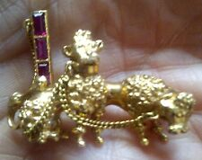 UNIQUE VICTORIAN 18CT GOLD POODLE,PUDEL,CANiCHE DOG SCULPTURE BROOCH + RUBIES