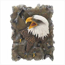 """Faux Wood Eagle Plaque, Polyresin, 6"""" x 2"""" x 8 1/2"""" high."""