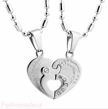1 Pair Stainless Steel Matching Necklaces Couple's Heart Pendant w CZ Chain