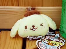 "Japan Sanrio Pom Pom Purin 4.5"" Plush Mascot W/Ball Chain  Face  Yellow Color"