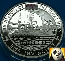 2004 GUERNSEY £5 Pound HMS Invincible History of Royal Navy Silver Proof Coin