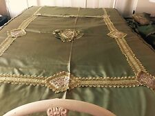 Antique 1900's French Victorian Satin Ribbon Embroidered Taffeta Bedspread- Sham