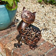 Garden Solar Powered Metal CAT Decorative Silhouette Scroll LED Light