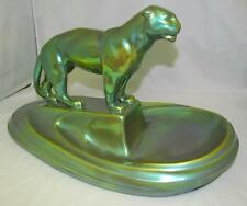"Zsolnay Panther LARGE Eosin Made In Hungary Green Iridescent 16"" x 9.5"" x 9"" WOW"