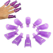 10Pcs Plastic Nail Art Soak Off Cap Clip UV Gel Polish Remover Wrap Tool Purple
