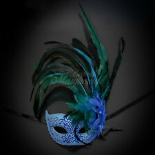 Ostrich Feather Mardi Gars Venetian Masquerade Mask for Women [Sky Blue]