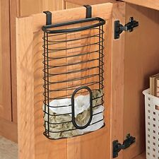 Kitchen Plastic Bag Tidy Rack & Waste Bags Holder, Black, Keeper Reuse Recycle
