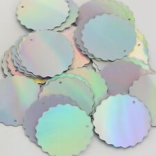 Silver Lazersheen Reflective Round Ruffle Edge 30mm Couture Sequin Paillettes