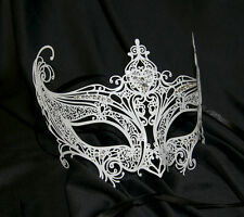 Venetian White Burano Filigree Metal Masquerade Mask masked ball catwoman Deluxe