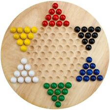 All Natural Wood Chinese Checkers with Wooden Marbles Board Game