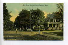 Gardner MA Mass Elm Street view looking South, boys in road, home, early