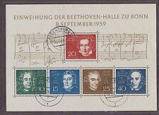 BUNDESPOST USED STAMP SHEET 1959 SG MS 1233a INAUGURATION OF BEETHOVEN
