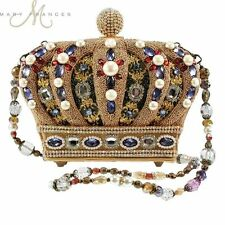 Mary Frances Handbag Queendom Crown Queen Gold Multi Beaded Jeweedl Shoulder Bag