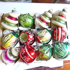 Box of 12 Antique Glass Fluted Hand Painted Xmas Ornament Pink German Unsilvered