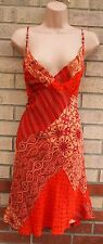 MARKS SPENCER CORAL ORANGE FLORAL STRAPPY CHIFFON PATCH  A LINE SKATER DRESS M