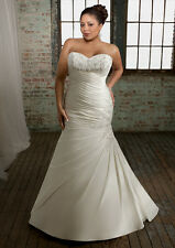Mori Lee Julietta 3105 Ivory Pleated Satin Crystals Lace Bridal Gown Plus 24W