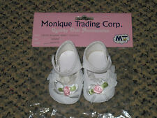 White *Mary Jane* Style Doll Shoes, American Girl/Reborn-Pink Rose/Lace Trim NEW