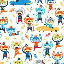 MICHAEL MILLER MONKEY MOVES IT'S A BOY THING Cotton Fabric FQ Quilting Children