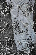 Sequins Sheer Paisley Coco Black embroidery Polyester dress apparel fabric 54""