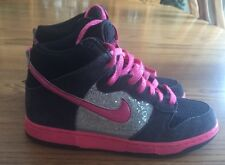 H2 Nike Dunk High Tops Silver Pink 454054 060 Women's Size 8 BLING Tennis Shoes