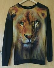 Black long-sleeved lion print top, tee shirt, semi-sheer, animal print, size 10