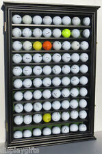 80 Golf Ball Display Case Rack Cabinet with Glass Door, Solid Wood, GB80-BLA