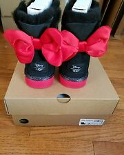UGG DISNEY MINNIE BLACK SWEETIE BOW CLASSIC BOOTS KIDS 3US/33EU 5W NIB RARE