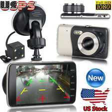 "4"" Dual Lens Camera HD 1080P Car DVR Video Recorder Vehicle Dash Cam G-sensor US"