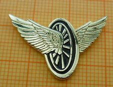 Lapel Pin Badge - Flying Wheels with Wings - black Enamel - Biker Motorcycle