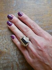 """NEW """"designer inspired"""" Large Rectangle Black Onyx CZ Ring w cable detail SZ 6"""